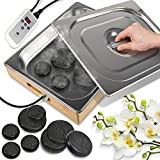 SereneLife Portable Electric Spa Hot Stones Massager and Heater Warmer Set Kit with 6 Large & 6 Small Round Shaped Basalt Massaging Rocks, Digital Controller Heating Bag, Black