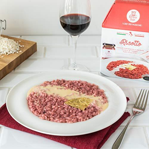 RISOTTO ALLA BARBABIETOLA con Fonduta di Taleggio e Foglia d'Oro My Cooking Box per 2 Porzioni - Per una cena romantica o come idea regalo originale!