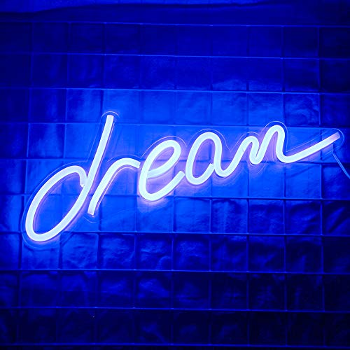 LED Dream Neon Signs Dream Neon Night Lights for Room Decor Light Lamp Bedroom Bar Pub Christmas Coffee Shop Wall Art Decoration Sign Operated by USB (17.9 '' × 6.2 '')
