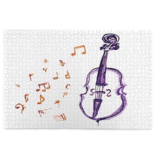 LINARUBE Rompecabezas de 1000 Piezas,Rompecabezas de imágenes,Instrumento de Notas Musicales Violín Violonchelo en,Juguetes Puzzle for Adultos niños Interesante Juego Juguete Decoración para El Hogar