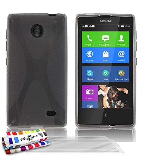 MUZZANO Original X-Cover Flessibile, per Nokia Normandy, con 3 pellicole di Protezione per Lo Schermo, Ultra Trasparenti, Colore: Grigio