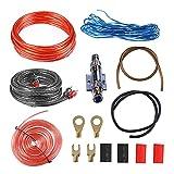 YeenGreen 8GA 15 Pcs Cable de Amplificador de Coche, Kit Cable Amplificador Coche, Kit de Cables para Audio Coche Subwoofer Amplificador Coche Kit Cable Subwoofer 1000W