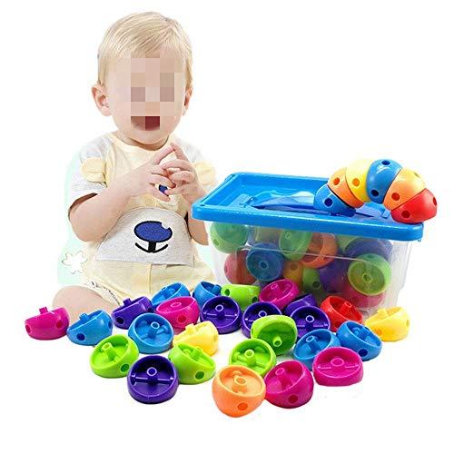Detazhi Ladrillo de Bloque de Madera, Caja de Almacenamiento de tamaño de construcción con 58 para niños y niños pequeños Durante 3 años de Juguetes (Color: Multicolor, tamaño: tamaño Gratis)