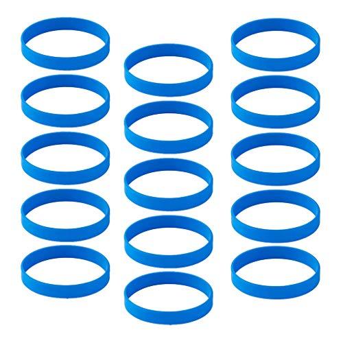 IPOTCH 15 Pezzi Braccialetto in Silicone Unisex, Braccialetto in Gomma, Cinturino in Silicone Impermeabile per Lo Sport, Braccialetto da Uomo - Blu