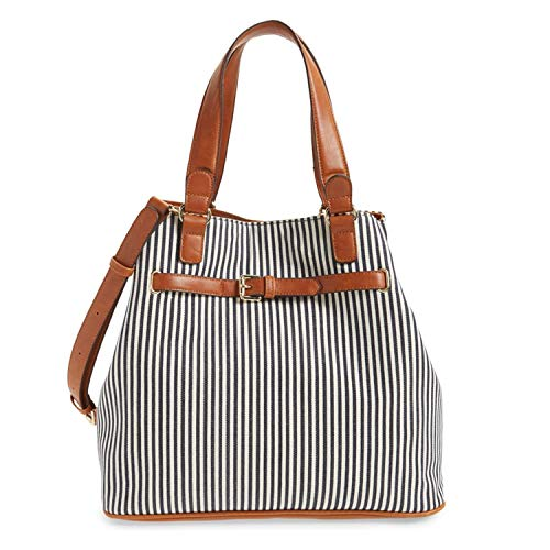 Sole Society womens Striped Belted Shoulder Tote Navy/Cream