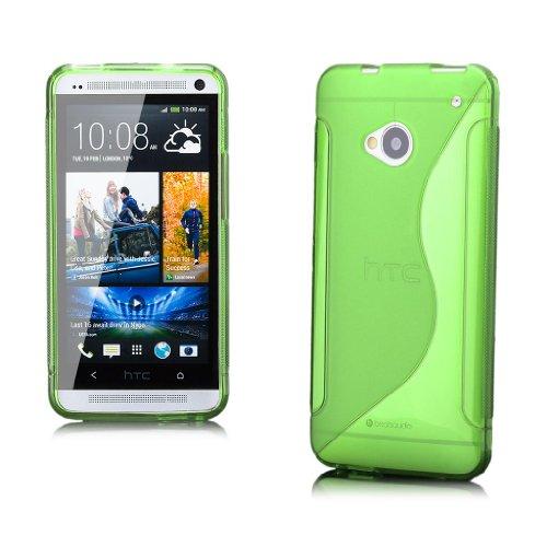 iCues HTC One M7 |  S-Line TPU Case Grün | [Display Schutzfolie Inklusive] Transparent Klarsichthülle Durchsichtig Klare Klarsicht Silikon Gel Schutzhülle Hülle Cover Schutz