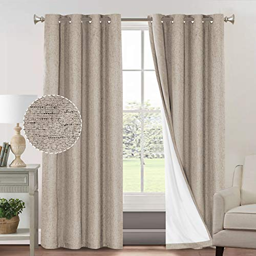 Primitive Textured Linen 100% Blackout Curtains for Bedroom/Living Room Energy Saving Window Treatment Curtain Drapes, Burlap Fabric with White Thermal Insulated Liner (52 x 84 Inch, Taupe)