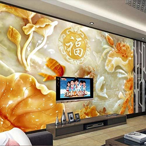 Kundenspezifische Tapete 3d großes Foto Wandbild Wand Jade Schnitzen wohlhabende Wandbild Wohnzimmer TV Hintergrund Wand 3D Tapete 250x175cm