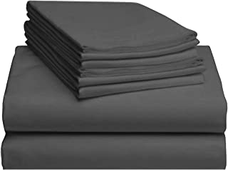 Luxurious Collections Breathable Bedding Set 600 Thread Count Soild Pattern Sateen Weave 15 Inches Deep Pocket Bedspread Egyptian Quality Cotton 6 Piece Sheet Set King Size Elephant Grey Color