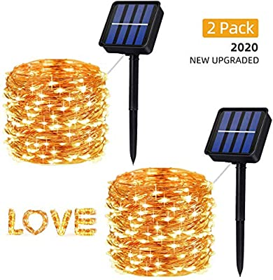 Upgraded Solar String Lights, 200 LED 66ft 8 Modes Solar Fairy Lights Waterproof Copper Wire Solar Lights Outdoor Garden String Lights for Home Patio Yard Party Halloween Christmas Decoration (2 Pack)