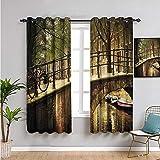 SONGDAYONE decoración de apartamentos con aislamiento térmico para oscurecimiento de la habitación, cortinas de 213 cm de largo, fácil de instalar W52 x L84 pulgadas, color crema