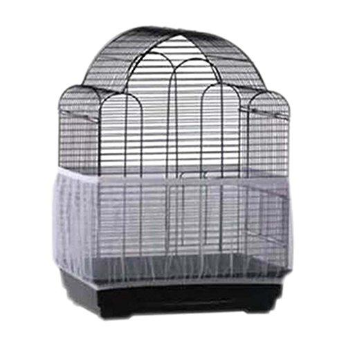 BELTRY Cubierta para jaula de pájaros, suave y fácil de limpiar, malla de nailon, protector de falda, cubierta para jaula de pájaros (S, blanco)