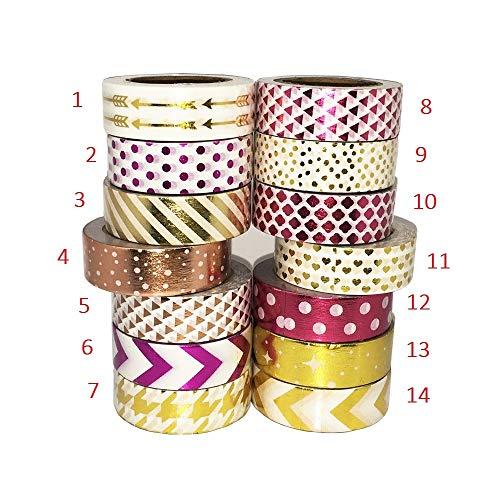 Washi Tape Arrow Dot Gold Foil Cinta de papel Washi Cinta adhesiva...