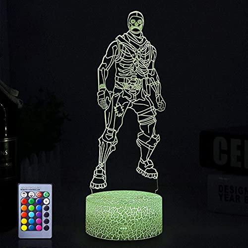 Lámpara de luces nocturnas 3D 16 colores Efecto de visión cambiable Mesa de escritorio Luz Hogar Dormitorio Decoración Juego Tema Regalos geniales para niñas Niños