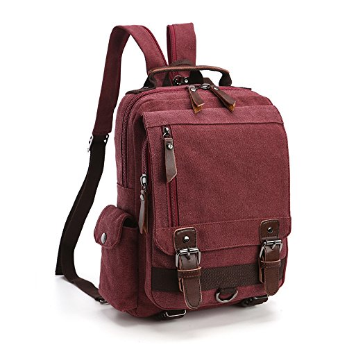 Minetom Lona Backpack Mochilas Escolares Mochila Escolar Casual Bolsa Viaje Moda Bolso De Bandolera Sencillo Unisex Vino Rojo Version B(29 * 11 * 33 Cm)