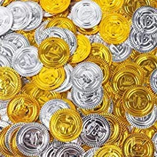 3 otters Pirate Toys Gold Coins, 300PCS Plastic Gold and Silver Coins Treasure for Pirate Party Halloween Party, All Saint...