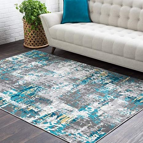 Amazon Com Goldston Abstract Blue Gray 2 X 2 11 Area Rug Kitchen Dining
