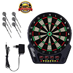 Electronic dart board, dart board and dart board dart machine with 6 darts, spare tips, 27 games and 243 variants for 16 players (Color1)