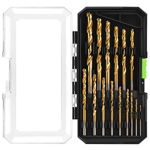 GALAX PRO HSS Titanium Bohrer-Set mit Kunststoff-Tragetasche für allgemeine Zwecke in Holz, Kunststoff und weichem Blech, 15-teilig