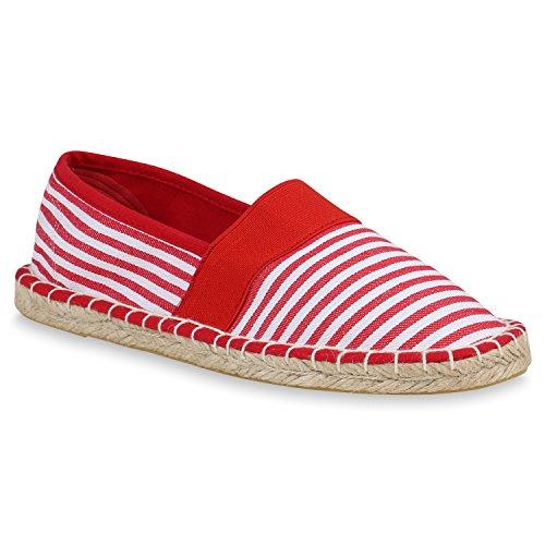 stiefelparadies Damen Espadrilles Bast Slippers Prints Freizeit Schuhe Slip Ons 157311 Rot Weiss 39 Flandell