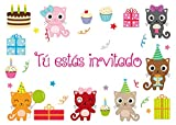 """Edition Colibri 10 Invitaciones cumpleaños Infantil en español """"Gatos"""": Juego de 10 Invitaciones a la Fiesta con Gatitos (10978 ES)"""
