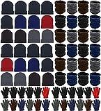 72x Winter Gloves, Beanies, Neck Warmers Unisex Bulk Pack Donation Charity Bulk Care Bundle (Assorted)