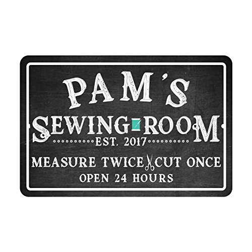Pattern Pop Personalized Sewing Room Chalkboard Look Metal Room Sign