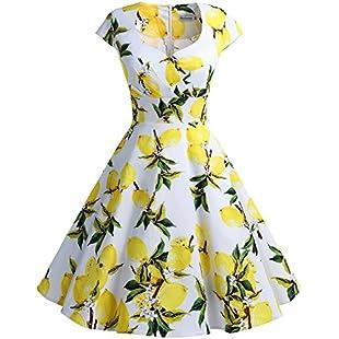 bbonlinedress Women's 50s 60s A Line Rockabilly Dress Cap Sleeve Floral Vintage Swing Party Dress Lemon 3XL