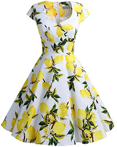 bbonlinedress 1950er Vintage Retro Cocktailkleid Rockabilly V-Ausschnitt Faltenrock Lemon S