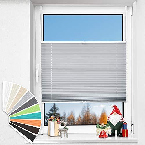 HOMEDEMO Plissee Klemmfix ohne Bohren, (45x180cm, Grau), Jalousie Plisseerollo Fensterrollo mit Klemmträger, Faltrollo Klemmrollo Sicht-und Sonnenschutz Rollos für Fenster & Tür