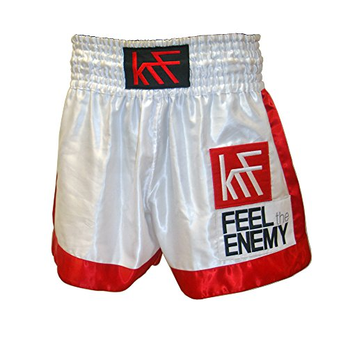 KRF Feel The Enemy Thai Liso Pantalones Cortos de Boxeo, Hombre, Blanco, L