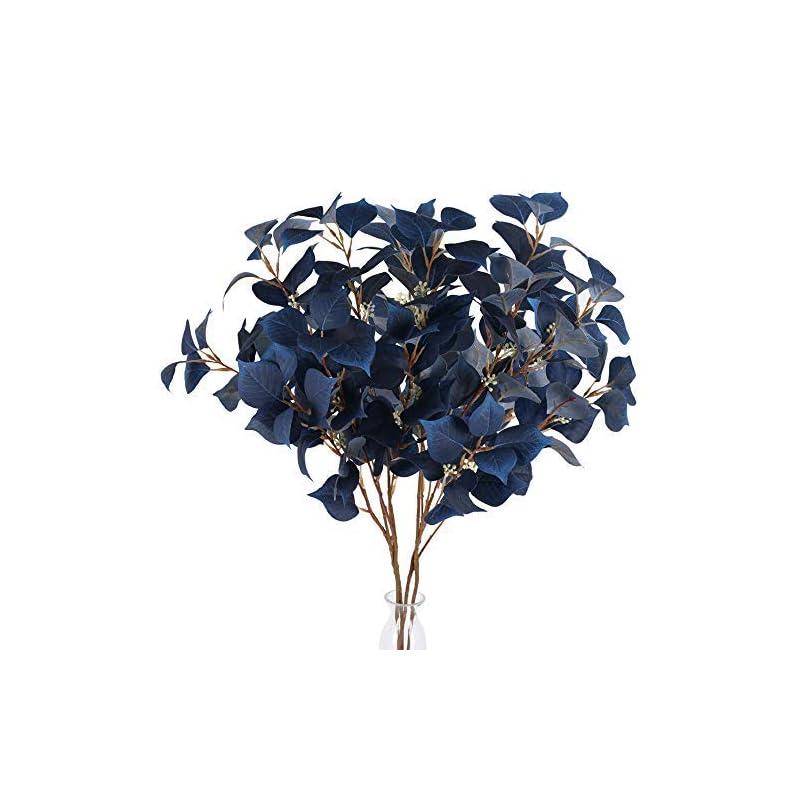 "silk flower arrangements ailanda 4pcs artificial greenery stems 31.5"" long eucalyptus leaf spray faux flowers silver dollar branches blue silk fake plants for home wedding floral arrangement table centerpieces"
