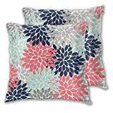 Nonebrand Navy Coral Gray Flower Burst Petals Throw Pillow Covers,Floral Pattern Decorative Pillowcase Double Side Print Cushion Covers for Sofa Couch Bed 18x18 Inches,Set of 2