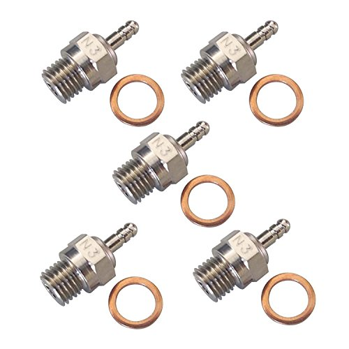 powerday Spark Glow Plug No.3 N3 Hot 70117 for RC Nitro Engines Car Truck TraxxasCompatible with: Volcano T2, Vortex SS, Tornado BB and More. Medium for Club Racing and Sport use. (Pack of 5 pcs)