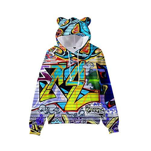 MUDRNO Sudadera con Capucha para Hombre con 3D Digital Impreso Men's Hoodie De Streetwear Suéter Estilo Garabato con Orejas De Gato XL