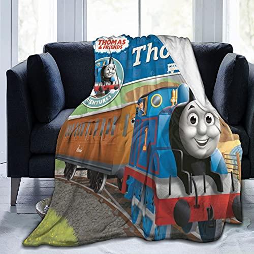Thomas And Friends Manta súper suave, acogedora, mullida, cálida, ligera, pelo largo, para decoración de sofá y cama, 125 x 150 cm