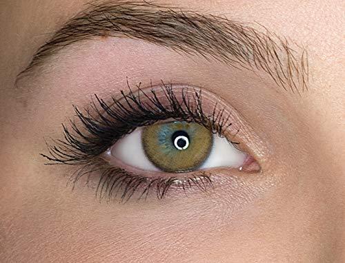 Kontaktlinsen farbig ohne Stärke farbige Jahreslinsen weiche Linsen soft Hydrogel 2 Stück Farblinsen + Linsenbehälter 0.0 Dioptrien natürliche Farben Serie Mystery Brown (braun)
