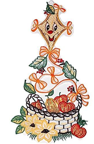 Fensterbild Plauener Stickerei Drachen Obstkorb Bunt Spitzenbild Herbst 16x33 cm + Saugnapf