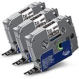 3x Labelwell 9mm x 8m Sostituzione Nastro Compatibile per Brother Tz Tze-325 Tze325 Tz325 Bianco su Nero per Brother PT1010 PT1000 PT-H100R PT-H100LB PT-D400 PT-E100VP PT-E300VP PTE100 PT-H105