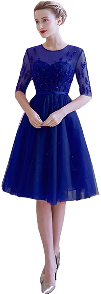 Lemai Vintage Sheer 1/2 Sleeves Tulle Knee Length Short Prom Corset Cocktail Dresses