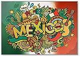 Kühlschrankmagnet, Motiv: Mexiko, Landschaft & Kritzeleien, Illustration