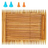 RELIAN Double Pointed Knitting Needles, 75 Pcs Bamboo Knitting Needles Set, 15 Sizes from 2.0mm-10.0mm(8 Inches Length)+ 4Pcs Knitting Needles Point Protectors