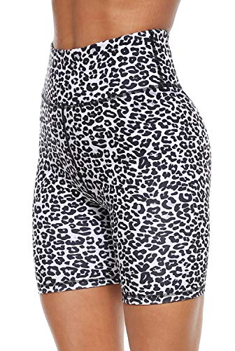 Persit Yoga Shorts for Women SpandexHigh Wasited Running Athletic Bike Workout Leggings Tight Fitness Gym Shorts with Pockets  White Leopard  M