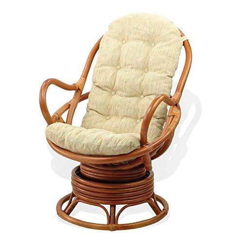 Lounge Swivel Rocking Java Chair Natural Handmade Rattan Wicker with Cream Cushion, Cognac