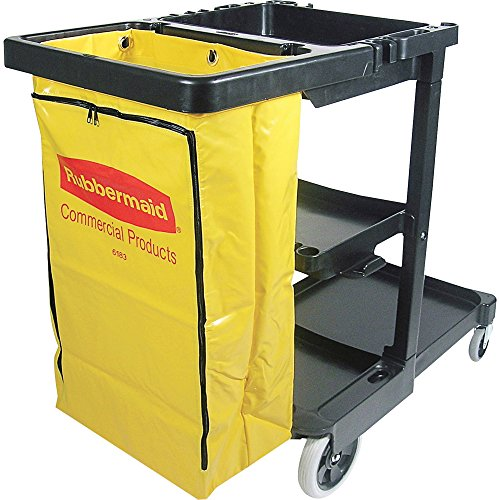 Rubbermaid Janitor Cart with Yellow Vinyl Bag, 3-Shelves, Black (RCP617388)