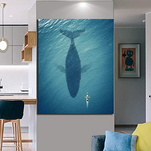 sakkdaull DIY Öl Digitale Malerei Digitale Acryl Handmalerei Leinwand Ölgemälde Bild Kajak Baleine Natural Seascape und SofaPainting Geschenke von digitalen Leinwand-mit Rahmen 40x50cm