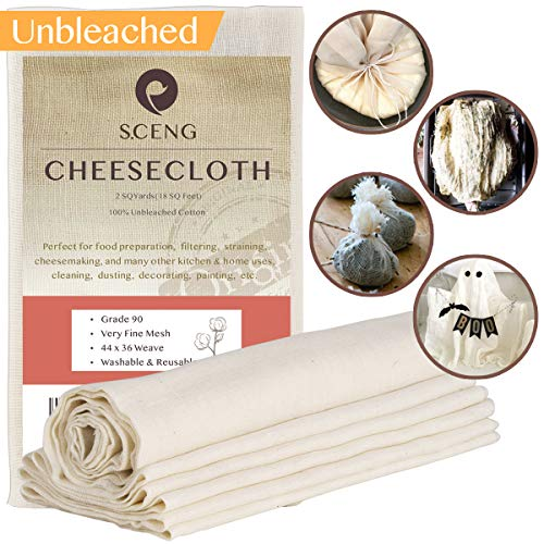 Cheesecloth, Grade 90, 18 sq Feet, 100% Unbleached Cotton Fabric, Ultra Fine Cheesecloth for Cooking-Reusable Nut Milk Strainer, Filter