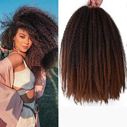 ALENTOO 4Packs Marley Hair Crochet Hair Afro Kinky Twist Crochet Hair Marley Twist Crochet Braids 18inch Synthetic Kinky Hair Extension for Women(T/30#)