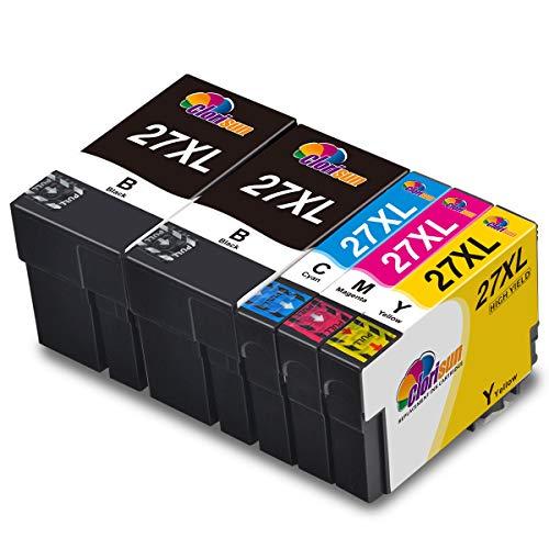 Clorisun 27XL Cartuccia d'inchiostro per Epson 27 27 XL Multipack per Epson Workforce WF-7720DTWF WF-7610DWF WF-7710DWF WF-7715DWF WF-3620DWF WF-7210DTW WF-7620DTWF WF-3640DTWF WF-7110DTW (5 Pezzi)