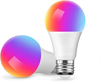 Smart Light Bulb, Compatible with Alexa Google Home and IFTTT, A19 LED Dimmable E26 and Multi-Color, WiFi, No Hub Required, 7W(60W Equivalent), 2 Pack